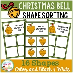 Shape Sorting Mats: Christmas Bell ~Digital Download~